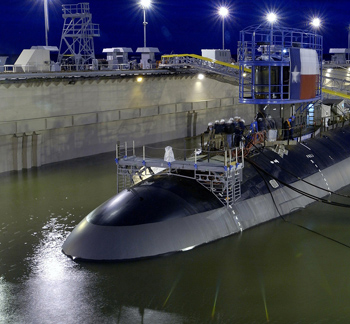 The U.S. Navy launches its second Virginia-class attack submarine, Pre Commissioning Unit (PCU) Texas (SSN 775). Photo courtesy of Chris Oxley, Northrop Grumman Corporation, Member of The Composites Consrotium.